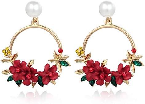 N/N Aretes Mujer Pendientes De Perlas Cristal Círculo Geométrico Flor Amarilla Pendientes Colgantes para Mujeres Pendientes