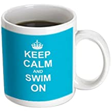 3dRose mug_157778_3 Keep Calm and Swim on Blue Carry on Swimming Hobby Or Pro Swimmer Gifts Pool Funny Humor Magic Transforming Mug, 11-Ounce