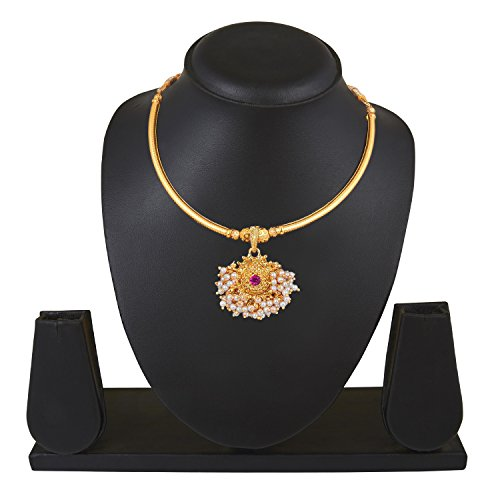 bodha 22K Gold Plated Traditional Indian Necklace for Women (SJ_2294) ()