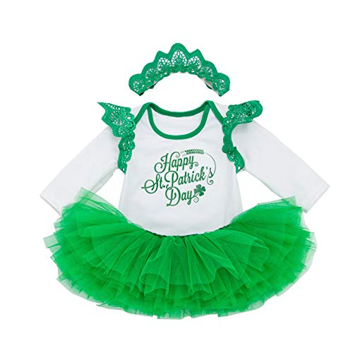 Fairy Baby Baby Girl St. Patricks Day Outfit Shamrocks Green Party Costume Dress Set (3-6 Months, Green Skirt)]()