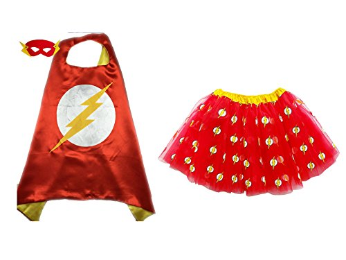 Superhero or Princess TUTU, CAPE, MASK SET COSTUME - Kids Childrens Halloween (Flash - Red Yellow (Flash Girl)