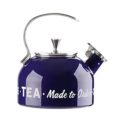 All In Good taste Orders up Metal Tea Kettle, Blue