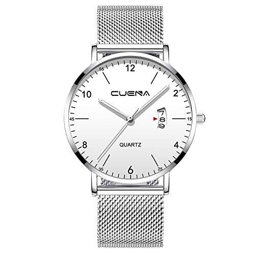 (Men Business Slim Analog Quartz Watch,Date Black Dial Wrist Watch with Mesh Bracelet Strap)