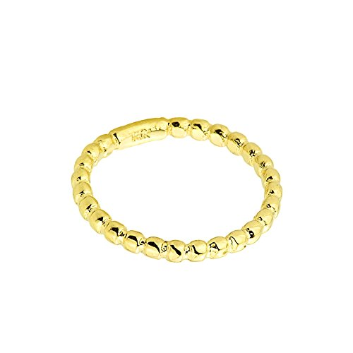 Family Jewelry Solid 10k Yellow Gold Beaded Band Baby Ring, Size 1