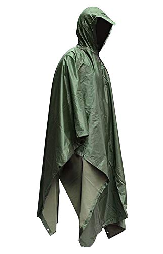 HOW'ON Military Multifunction Realtree Camouflage Waterproof Rain Poncho Adults(Gift Emergency Blanket) Army Green One Size]()