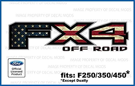 2 2001 Ford F250 F350 FX4 Off Road Decals Stickers American Flag Worn FWFLAG