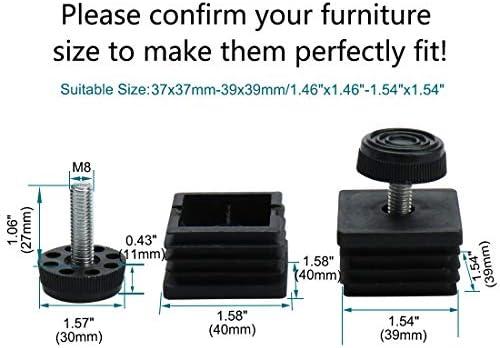 uxcell/® Leveling Feet 40 x 40mm Square Tube Inserts Kit Furniture Glide Adjustable Leveler for Table Desk Cabinet Leg 10 Sets