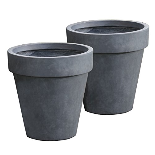 Winsome House Stone Finish Traditional Planters, Medium, Set of 2