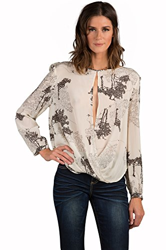 Standards & Practices Modern Womens Silk Willow Keyhole Front Long Sleeve Blouse Size Medium -
