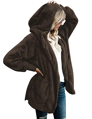 Vetinee Women's Casual Draped Open Front Hooded Cardigan Fleece Oversized Outerwear Brown Size Medium (fits US 8-US 10) ()