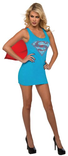 Rubie's DC Comics Justice League Superhero Style Adult Dress with Cape Rhinestone Supergirl, Blue, Medium Costume