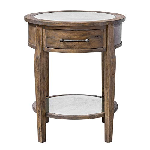 (My Swanky Home Classic Round Light Wood Accent Table | Drawer Mirrored Transitional Elegant)