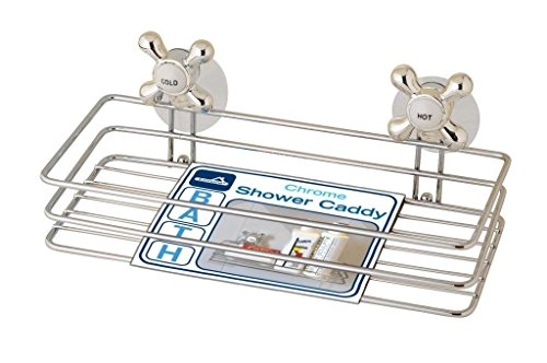 Chrome Bath Guest Towel Holder, Shower Caddy and Vanity Tray with Hot and Cold Retro Knobs all in one with Suction Cups for Mirror and Tile Placement