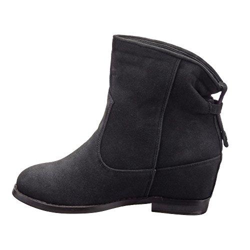 Sopily - Chaussures De Mode Bottines - Bottines Bottines Femme Talon Compensé 7 Cm - Semelles En Tissu - Noir