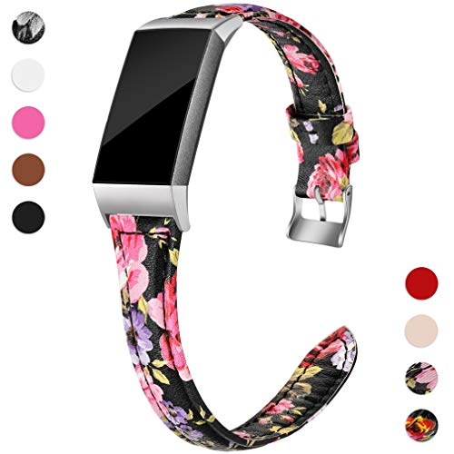 Hamile Slim Bands Compatible for Fitbit Charge 3, Genuine Leather Replacement Watch Band Wristband Strap for Fitbit Charge 3 and Charge 3 SE, Women, Large, Pink Floral