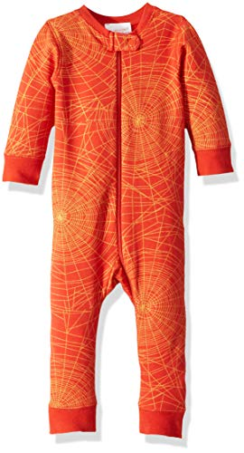 Masala Baby Baby Organic Zip-up One Piece Golden Web Brick Red, 3-6M