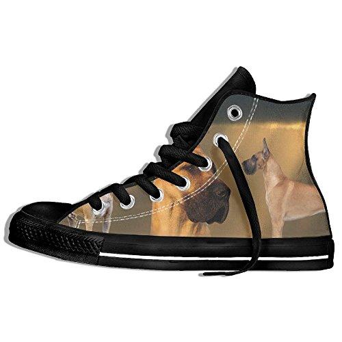 Classiche Sneakers Alte Scarpe Di Tela Antiscivolo Cane Great Dane Casual Walking Per Uomo Donna Nero