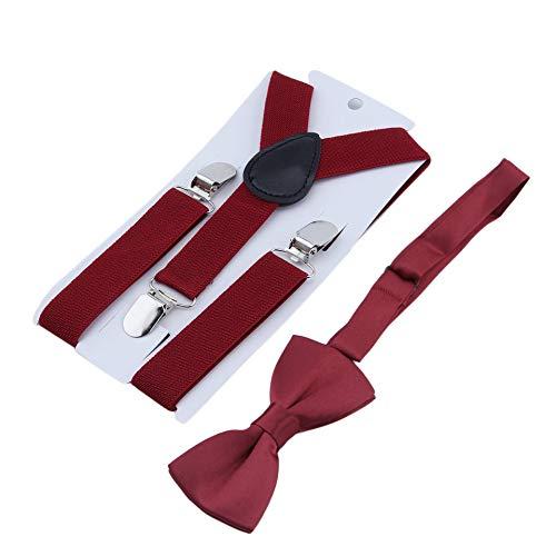 Tirantes ajustables y el/ásticos con clips de metal de poli/éster para ni/ños y corbat/ín de mo/ño Conjunto de corbatas a juego Trajes Rojo vino