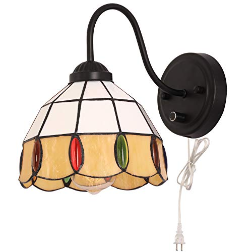 Kingmi Tiffany Dimmable Wall Lamp Industrial Vintage Farmhouse Wall Sconce Lighting Gooseneck Wall Light Fixture with Plug in Cord and On Off Switch for Bedroom Nightstand