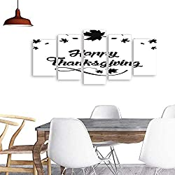 UHOO 5 Piece Wall Art PaintingHappy Thanksgiving Lettering Text with Maple Leaf 1. All Decor Gift