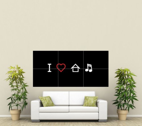 I LOVE HOUSE MUSIC GRAPHIC ILLUSTRATION PICTOGRAM BLACK WHITE RED DJ COOL HUGE WALL ART POSTER ST321