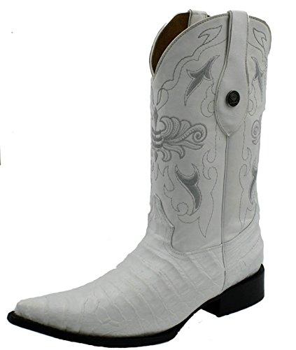 Stivali Da Cowboy Western In Pelle Stampa Coccodrillo Con Stampa Coccodrillo Bianca