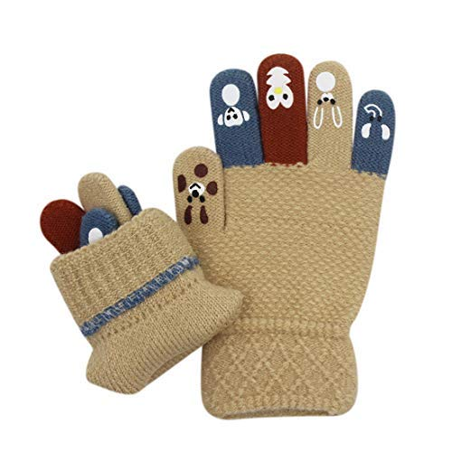 Eilova Cute Animal Winter Stretchy Gloves Cold Weather Knitted Wind-proof Mittens for Kids Girls Boy