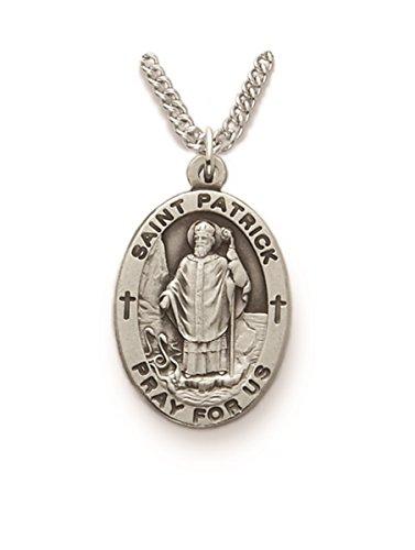 Saint Patrick Necklace (Sterling Silver Catholic Patron Saint Saint Patrick Medal Pendant, 1 Inch)