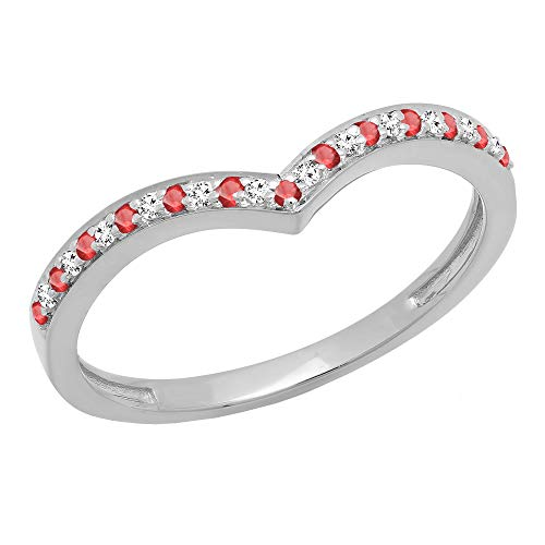 10K White Gold Ruby & White Diamond Wedding Stackable Band Guard Chevron Ring (Size 5.5) -