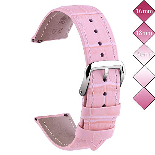 18mm Leather Watch Bands, Vetoo Classic Genuine Crocodile Pattern Leather Replacement Watch Strap - Pink