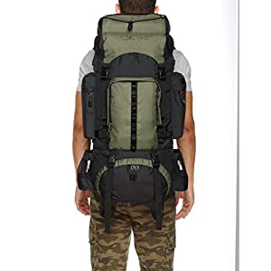 AmazonBasics Internal Frame Hiking Backpack with Rainfly, 55 L, Green