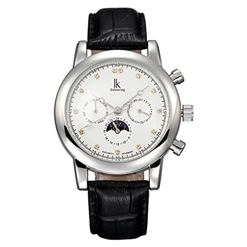 Fanmis Mens Womens White Dial Crystal Moon Phase Automatic Silver Watch with Black Leather Strap - Moon Phase White Dial