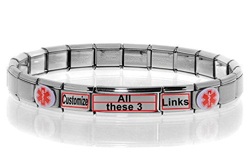 Dolceoro Customized Medical Alert Bracelet - Stainless Steel Stretchable Modular Charms - 3 Personalized Links by Dolceoro
