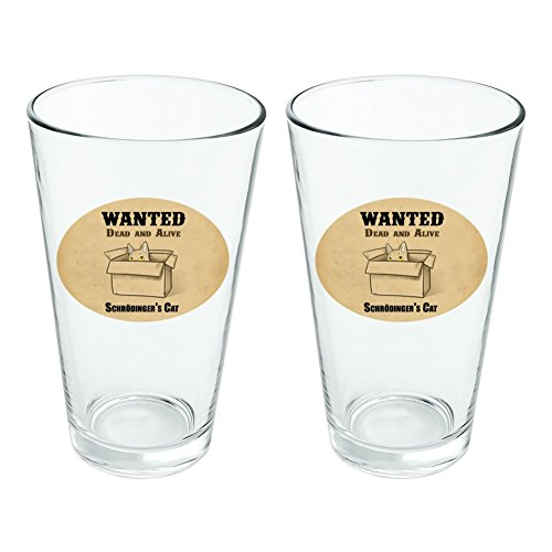 Quantum Iced Tea - Schrodinger's Cat Wanted Dead Alive Novelty 16oz Pint Drinking Glass Tempered Set of 2