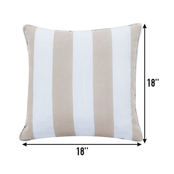 """Ornavo Home Water Resistant Indoor/Outdoor Square Patio Decorative Stripe Throw Pillow Cushion - Insert Included - Set of 2-18"""" x 18"""" - Beige - LONG LASTING: These 18-inch accent pillows are made with premium fabric for superior color retention and resistance to mildew and stains, so they're ready for the great outdoors. WATER REPELLENT: This set includes two pillows, each featuring a 100% polyester cover that's resistant to moisture, making the pillows weatherproof and appropriate for patio furniture. The cover has the highest UV and abrasion resistance ratings. FADE RESISTANT: Rejuvenate your patio or deck furniture with these striped outdoor throw pillows. The set of two pillows are constructed from fade-resistant fabric and filled with polyester fill to withstand wear and tear from outdoor exposure. - patio, outdoor-throw-pillows, outdoor-decor - 41ah7aCYCDL. SS570  -"""