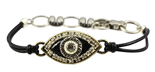 Swarovski Cord Bracelet (Michal Golan Jet Black Evil Eye Bracelet with Clear Swarovski Crystals on Black Leather)