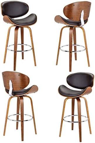 Armen Living Solvang 26 Swivel Barstool in Brown Faux Leather – Set of 4