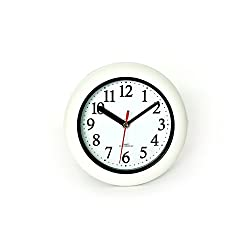 Perfect White Shell Water Resistant Clock, Quartz Movement, Simple Modern Design, 6.5 in Diameter, Plastic Frame, Flexible options to hang or to stand.