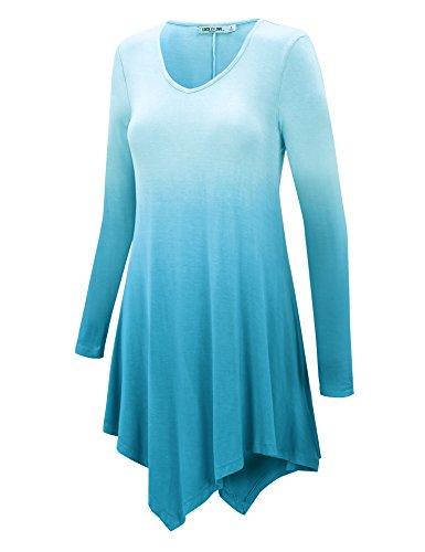 WT1050 Womens V Neck Long Sleeve Dip Dye Handkerchief Hem Tunic Top XL AQUA