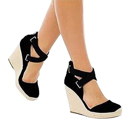 Veodhekai Women High Heel Wedge Sandals Retro Espadrilles Wedges Flats Shoes Canvas Beach Shoes Platform Roman Sandals Black