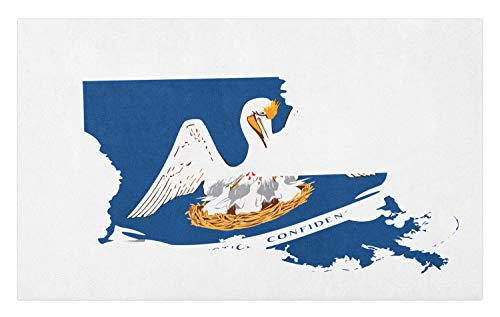 Lunarable Louisiana Doormat, Pelican State Flag Map Union Justice Confidence, Decorative Polyester Floor Mat with Non-Skid Backing, 30 W X 18 L Inches, Cobalt Blue White Pale Coffee Earth Yellow