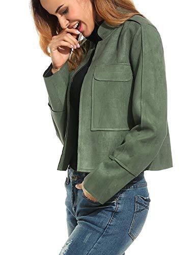 Corto Colores Bolsillos Larga Mujer Modernas Cuello Abrigos Exteriores Armygreen Delanteros Prendas Abrigos Cardigan Moda Chaqueta Sólidos Stand Manga Cómodo Invierno rvrn6
