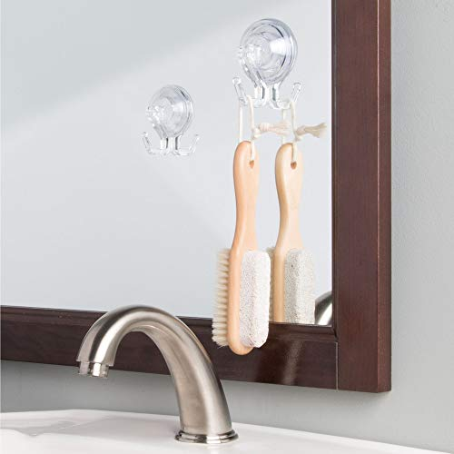 InterDesign Power Lock Bathroom Shower Plastic Suction Cup Hooks for Loofah, Towels, Sponges, and More Set of 2 Clear by InterDesign (Image #3)