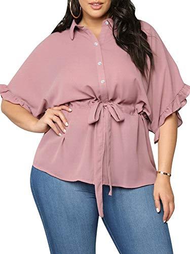 Glamaker Women's Plus Size Short Sleeve Button Down Chiffon Belted Knot Peplum Blouse Tops Shirt Pink
