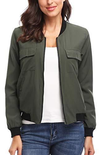 Women's Lightweight Zip-Up Fashion Bomber Jacket Coat Classic Baseball Jacket Short Bomber Jacket Coat Green M