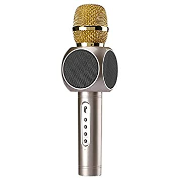 Amazon.com: SODIAL E103 Wireless Microphone Condenr Karaoke Microfono Inalambrico KTV Music Bluetooth Speaker Mikrofon for Smartphone Android iOS Gold: ...