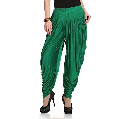 Legis Blue Relaxed Comfortable Cotton Blend Dhoti Pants Yoga Fitness Active wear for Women Dance - Free Size (Green)