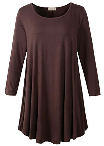 LARACE Women 3/4 Sleeve Tunic Top Loose Fit Flare T-Shirt(L, Coffee)