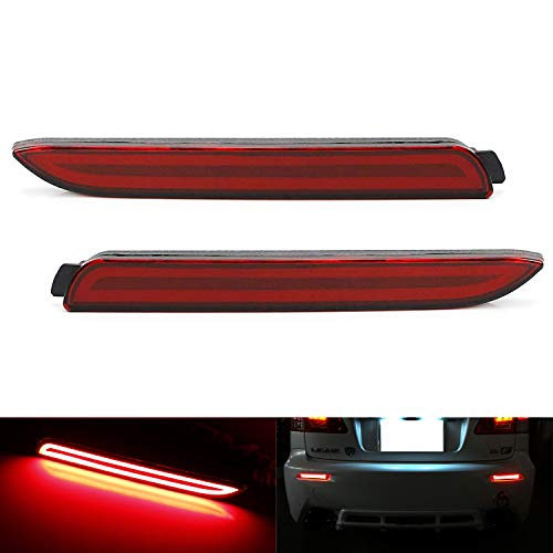 iJDMTOY 3D Optic Style Red Lens LED Bumper Reflector Lights For Lexus & Toyota, Function as Tail & Brake Lamps ()