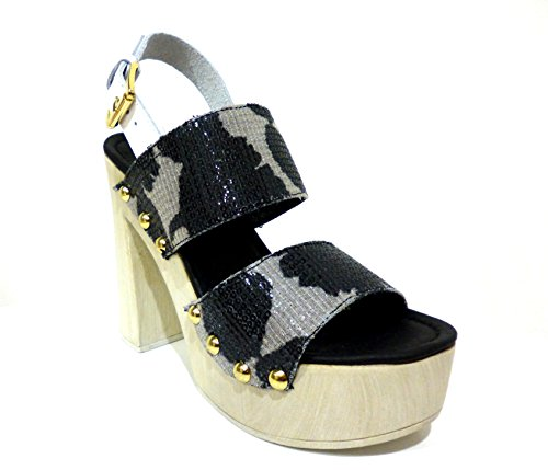 Cafè Noir OJS060010390 010 NERO 39 SANDALES Paillettes PRINT FLORAL ON STUMP HOOF
